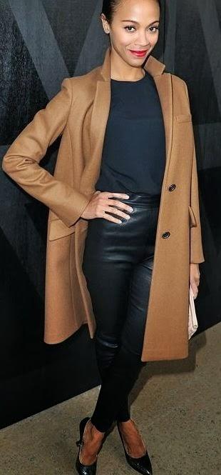Zoe Saldana Camel Coat Trend Street Style