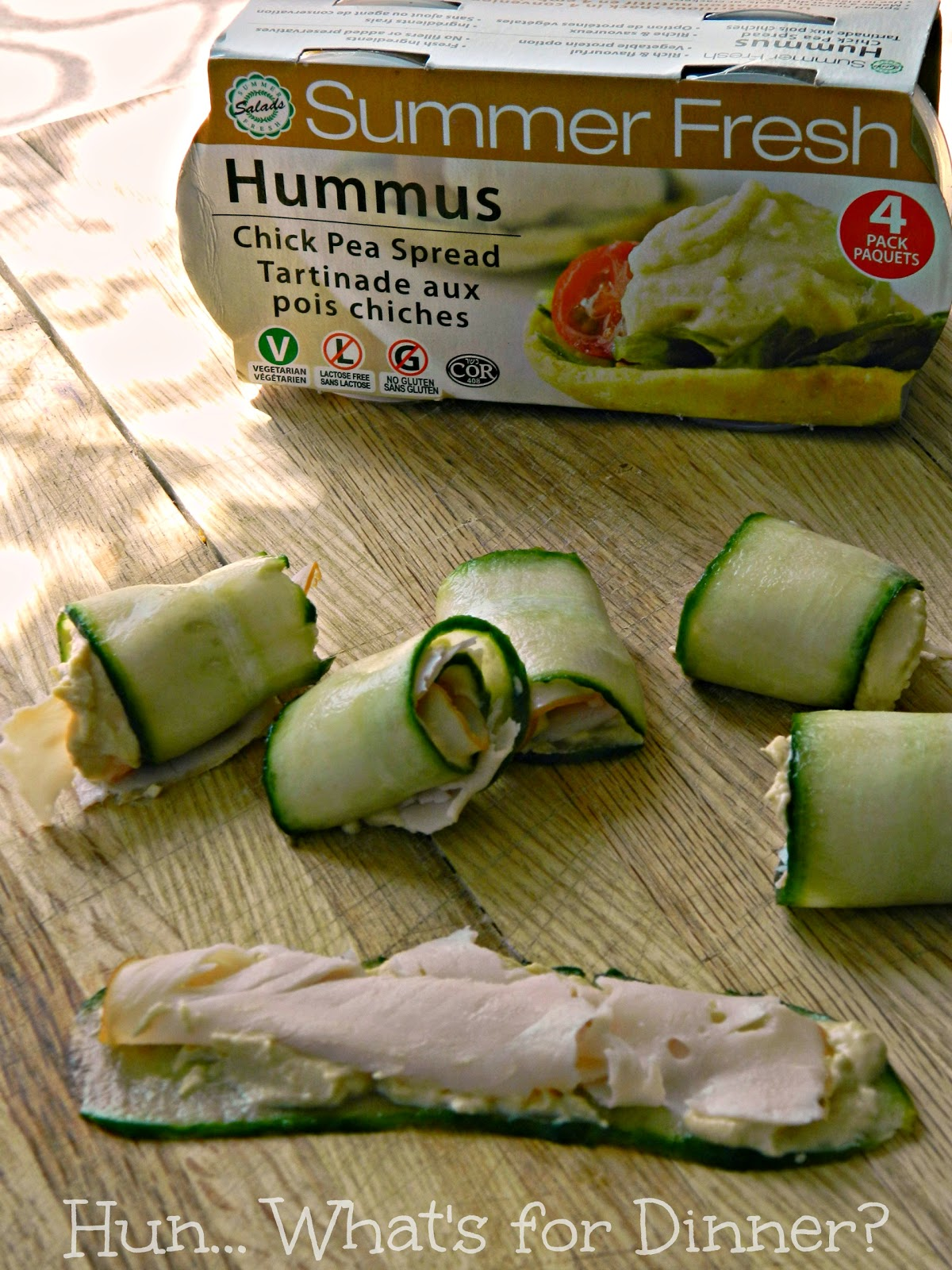 Hun... What's for Dinner? Cucumber Turkey Hummus Rolls #FreshSnacks