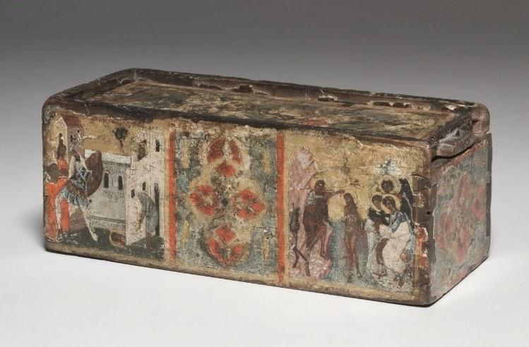 Ξύλινη βυζαντινή λειψανοθήκη με σκηνές από τον βίο του Ιωάννη του Βαπτιστή http://leipsanothiki.blogspot.be/