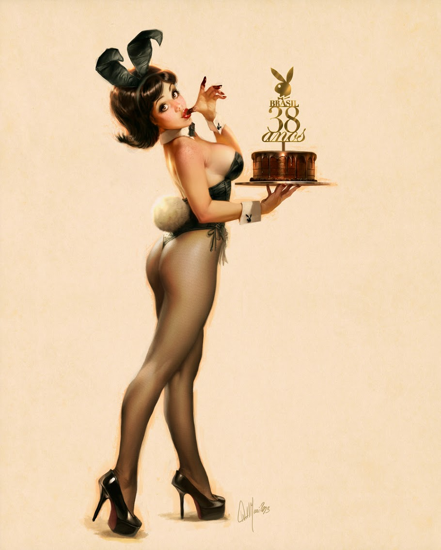 illustration de Will Murai représentant une pin up playboy anniversaire