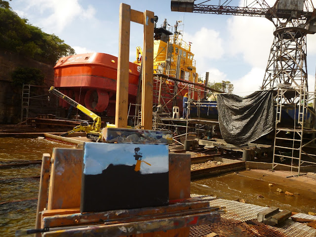 plein air oil painting of Sydney Ports tug 'Shirley Smith' on slipway of Goat Island by artist Jane Bennett