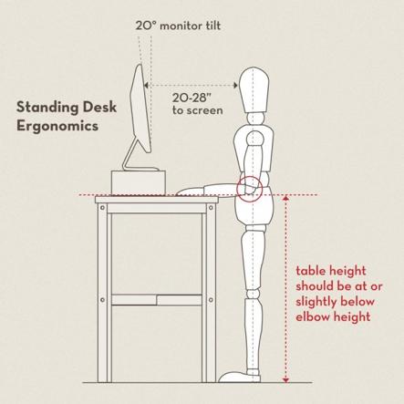 ระยะที่เหมาะสม สำหรับโต๊ะยืนทำงาน