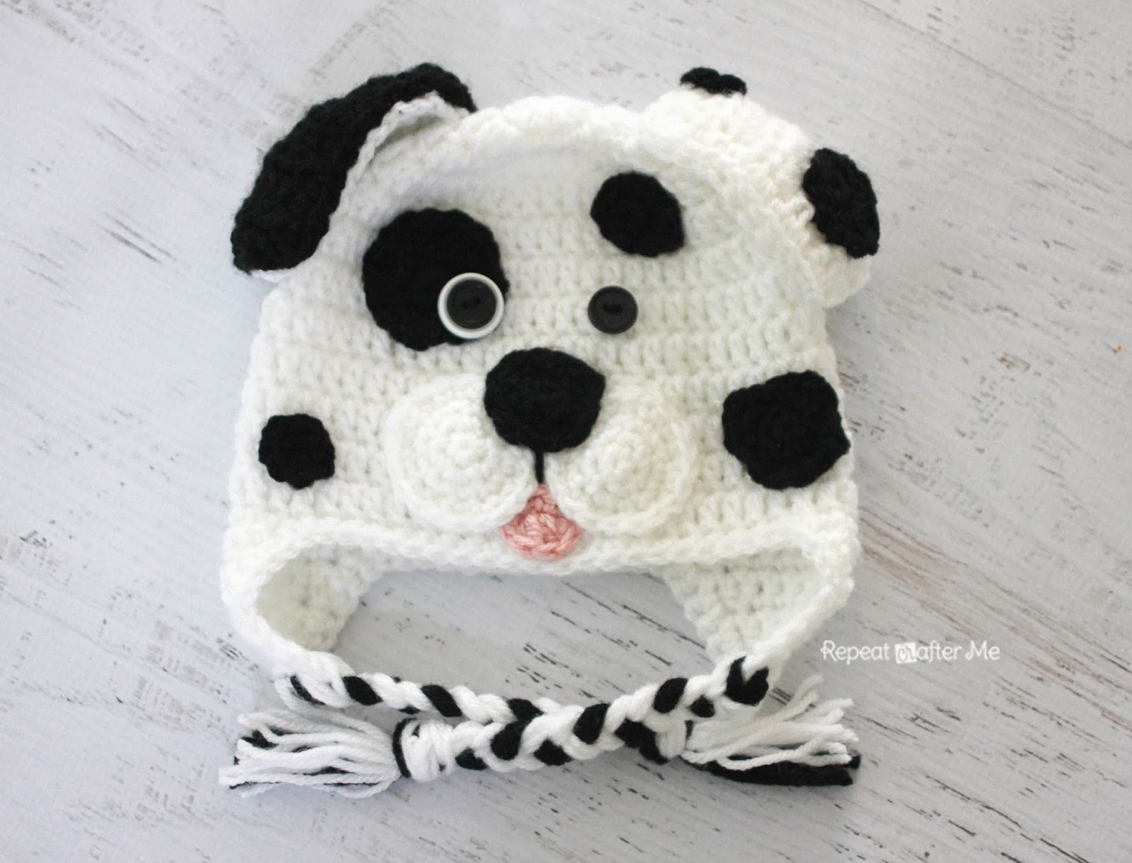 Crochet Pattern Baby Dog Hat : Repeat Crafter Me: Crochet Dalmatian Dog Pattern