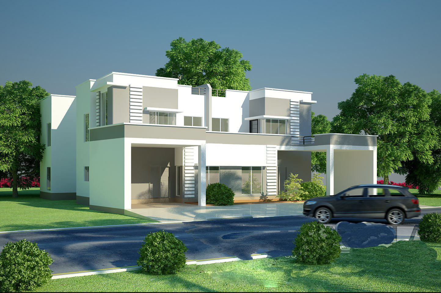 3D Front Elevation   1 Kanal Beautiful House Front Elevation
