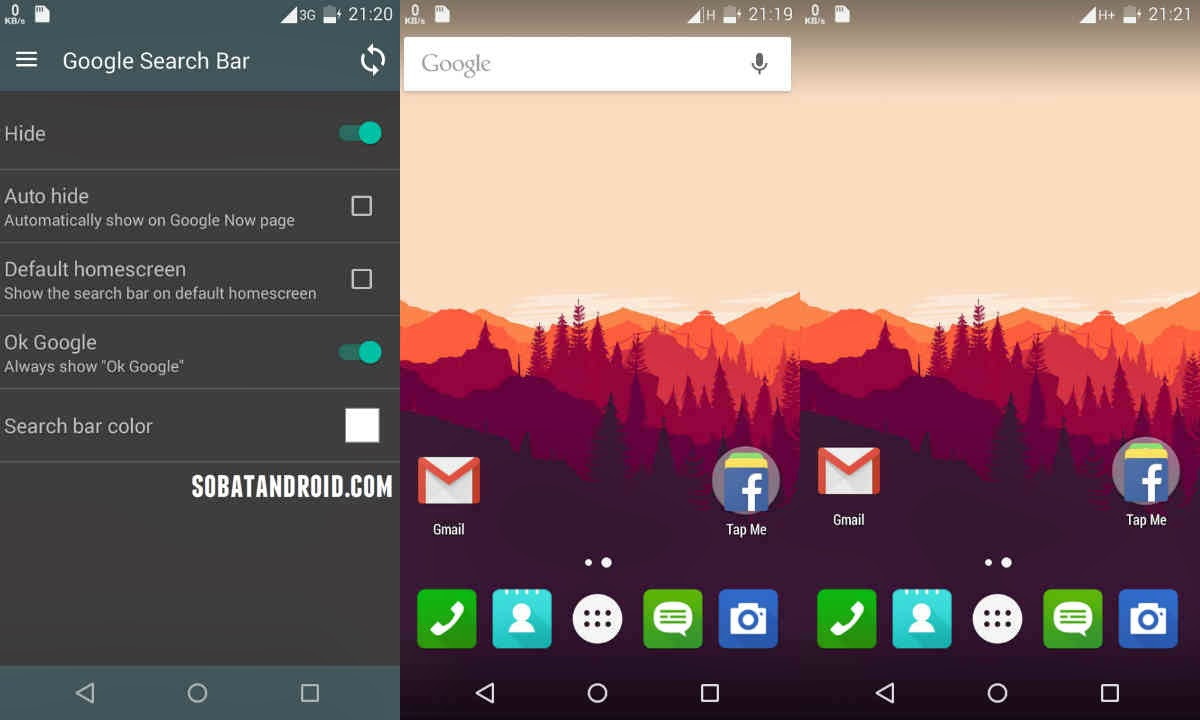 cara menghilangkan google search bar di aplikasi android google now launcher