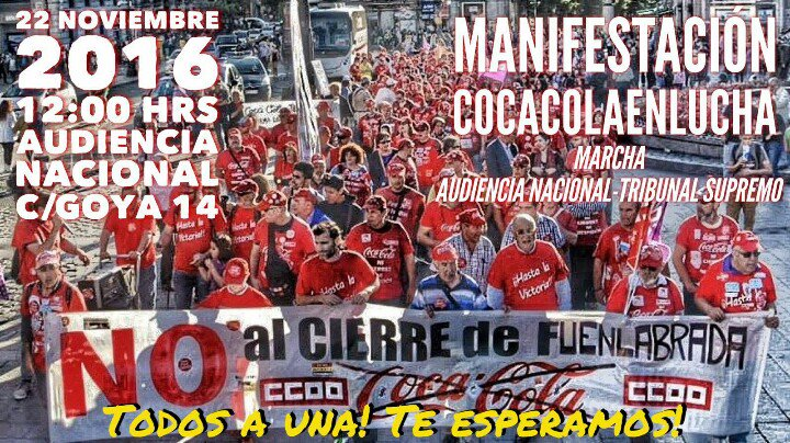 22 noviembre Manifestación CocaCola En Lucha