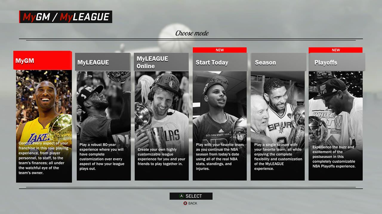 NBA 2K17 Features Enhancements to MyGM & MyLEAGUE : Menu and Playoffs mode