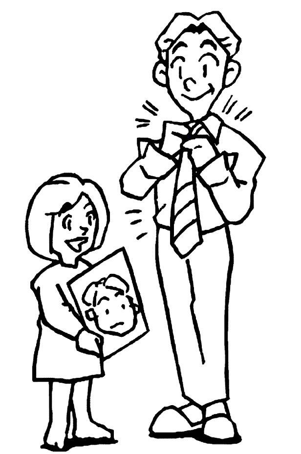Dibujo de Hija entregando retrato a papá para colorear y pintar