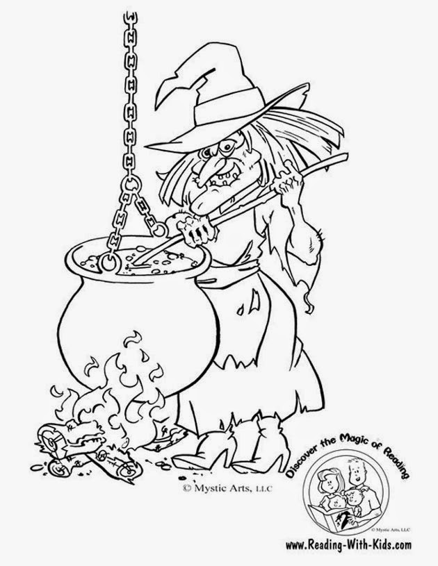 coloriage la sorcière qui prépare sa potion maléfique pour halloween