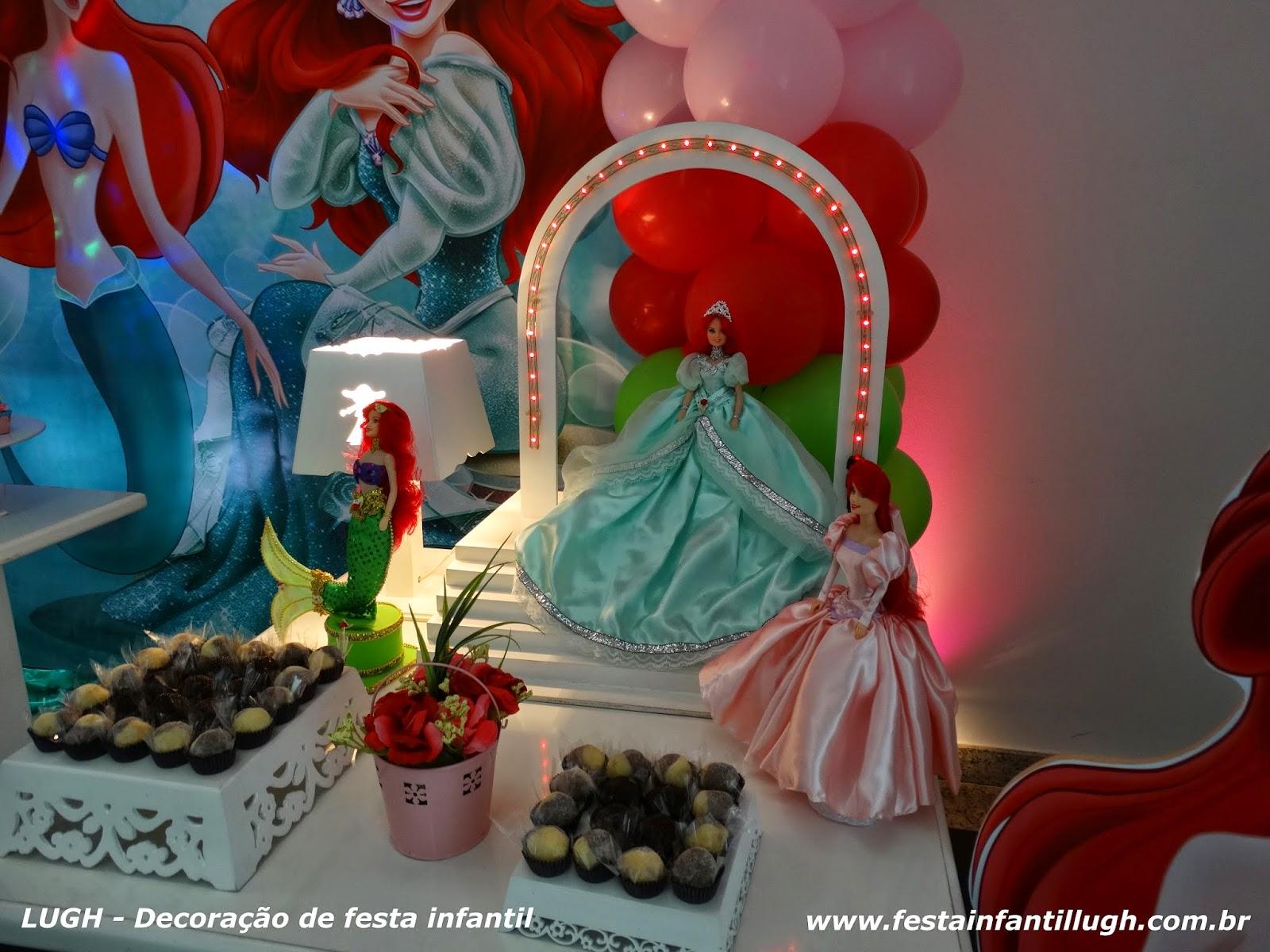 Decoração infantil com o tema da Ariel