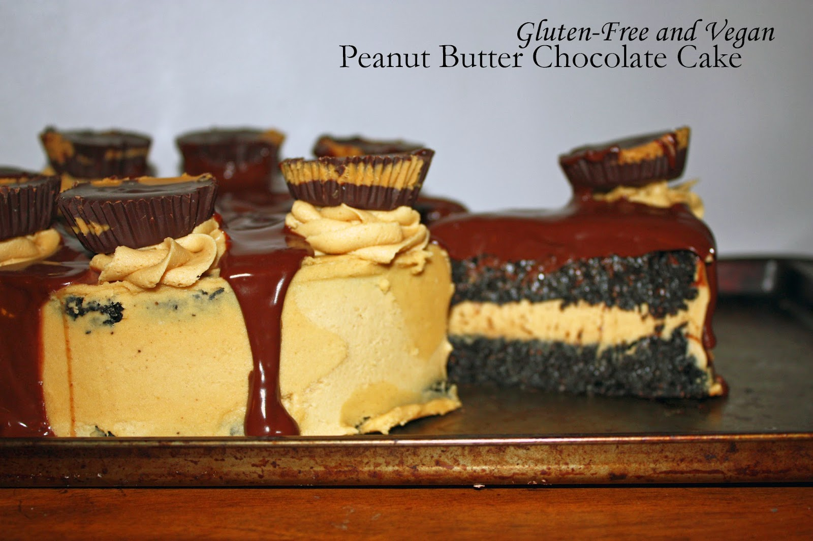 gluten-free and vegan peanut butter chocolate cake