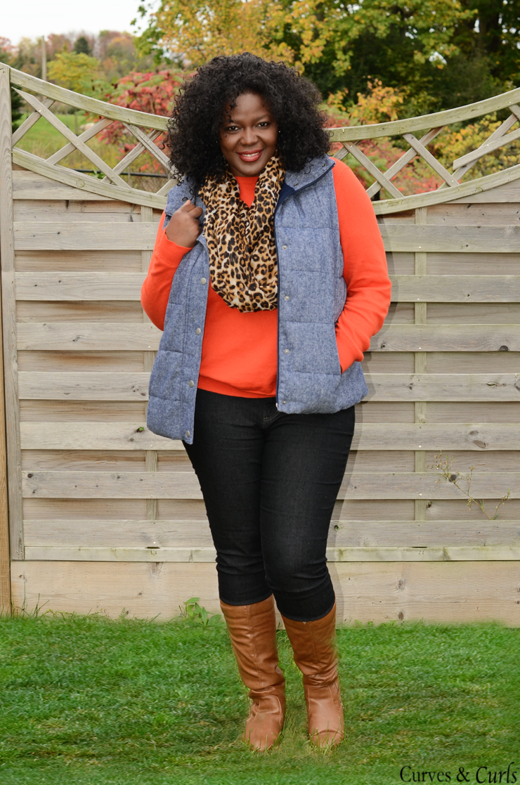 How to wear a puffer vest : #plussize, #oldnavy #joefresh