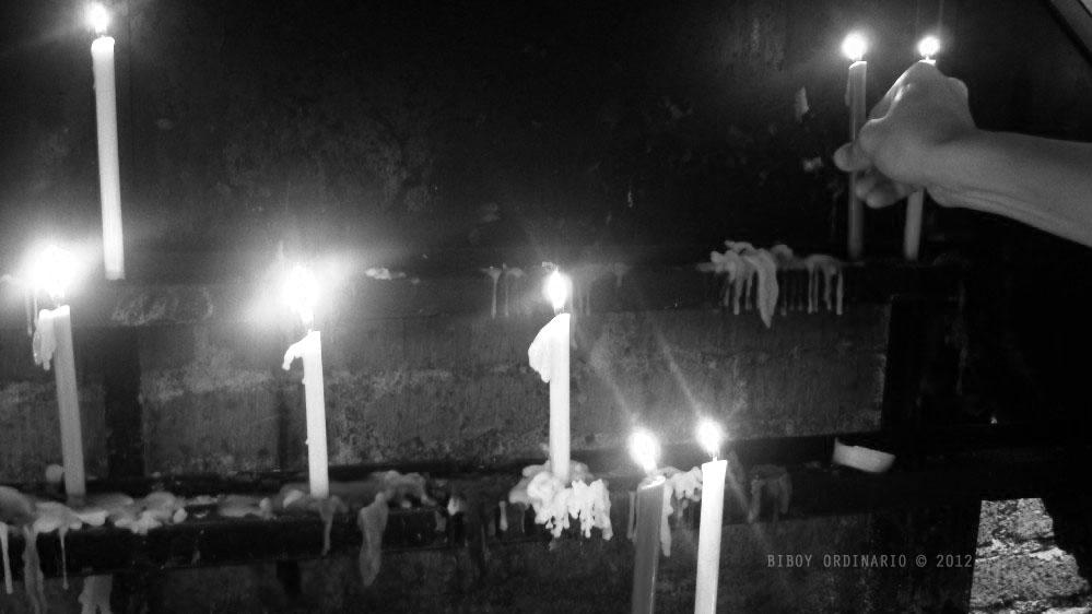 Candles inside of church, Nagcarlan Church, Laguna