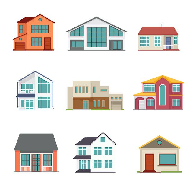 ilustração casas diversas fachadas
