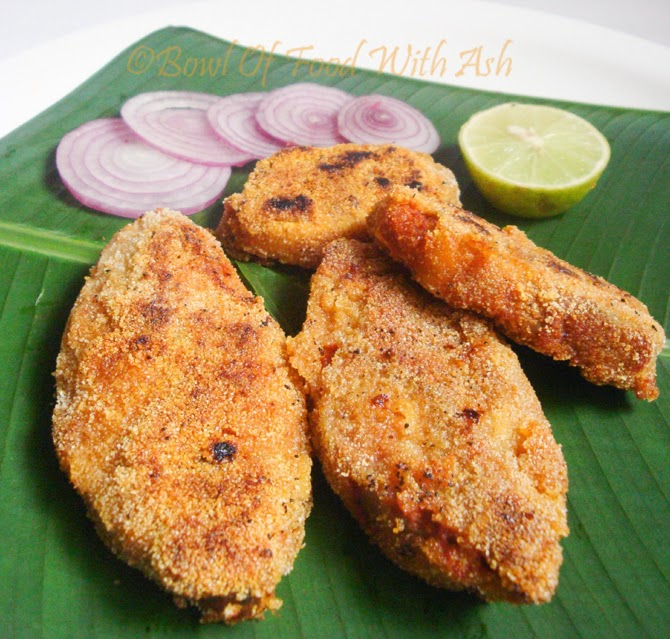 Bowl of food with ash coastal rava fish fry recipe how for Fish fry in my area