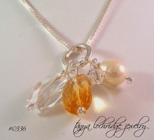 Tanya Lochridge Jewelry Citrine, Pearl, Crystal Quartz Gemstone Sterling Necklace