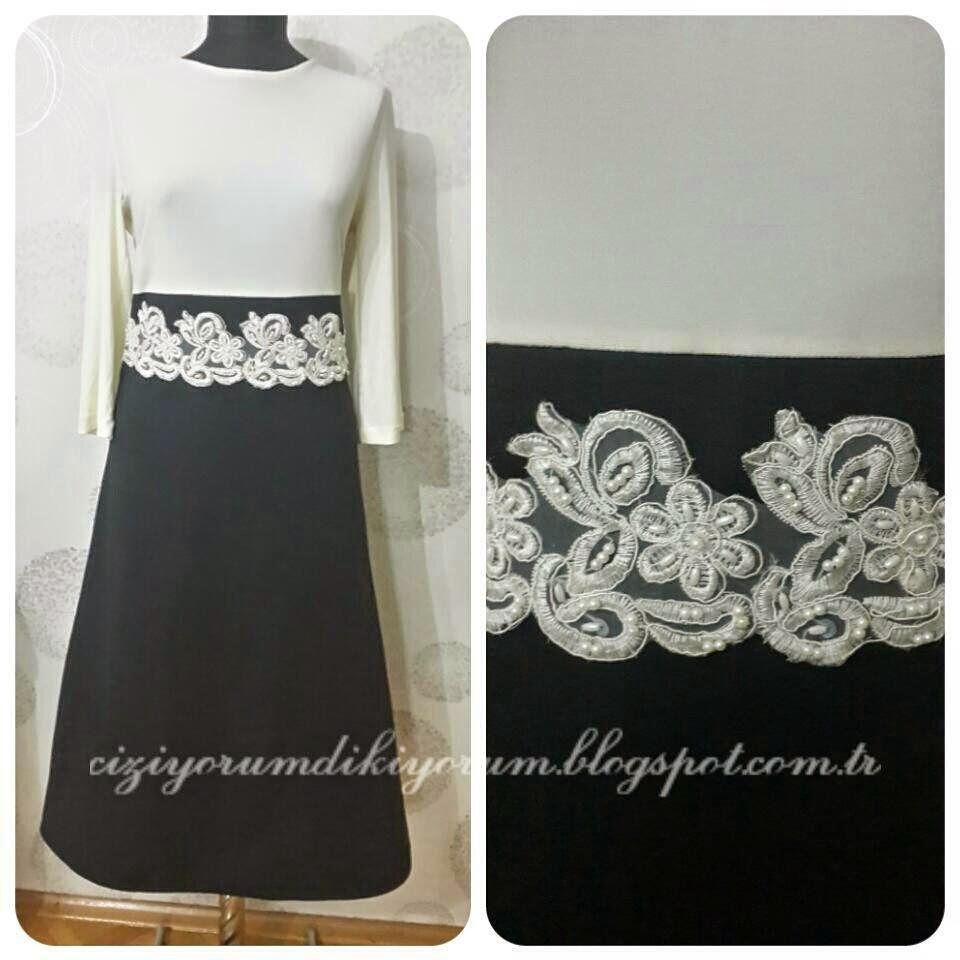 Siyah beyaz elbise, aplike çalışması