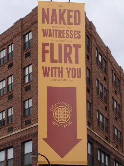 Advertisement Of an Irish Pub where Waitresses Flirt with You