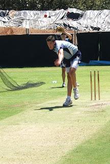 Mitchell Starc bowling at nets