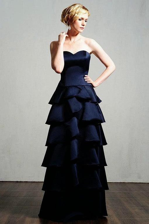 Fashionable A-line Natural Waist Satin Dress for Bridesmaid, Amazing Dark Blue Wedding Dress