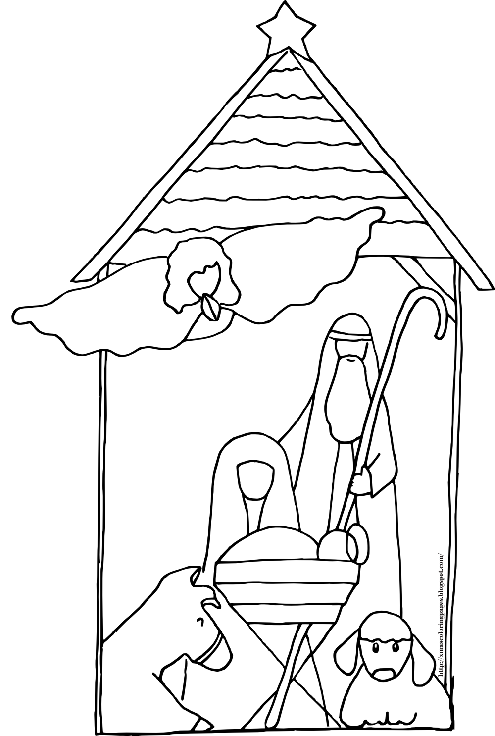 Xmas Coloring Pages Manger Coloring Page