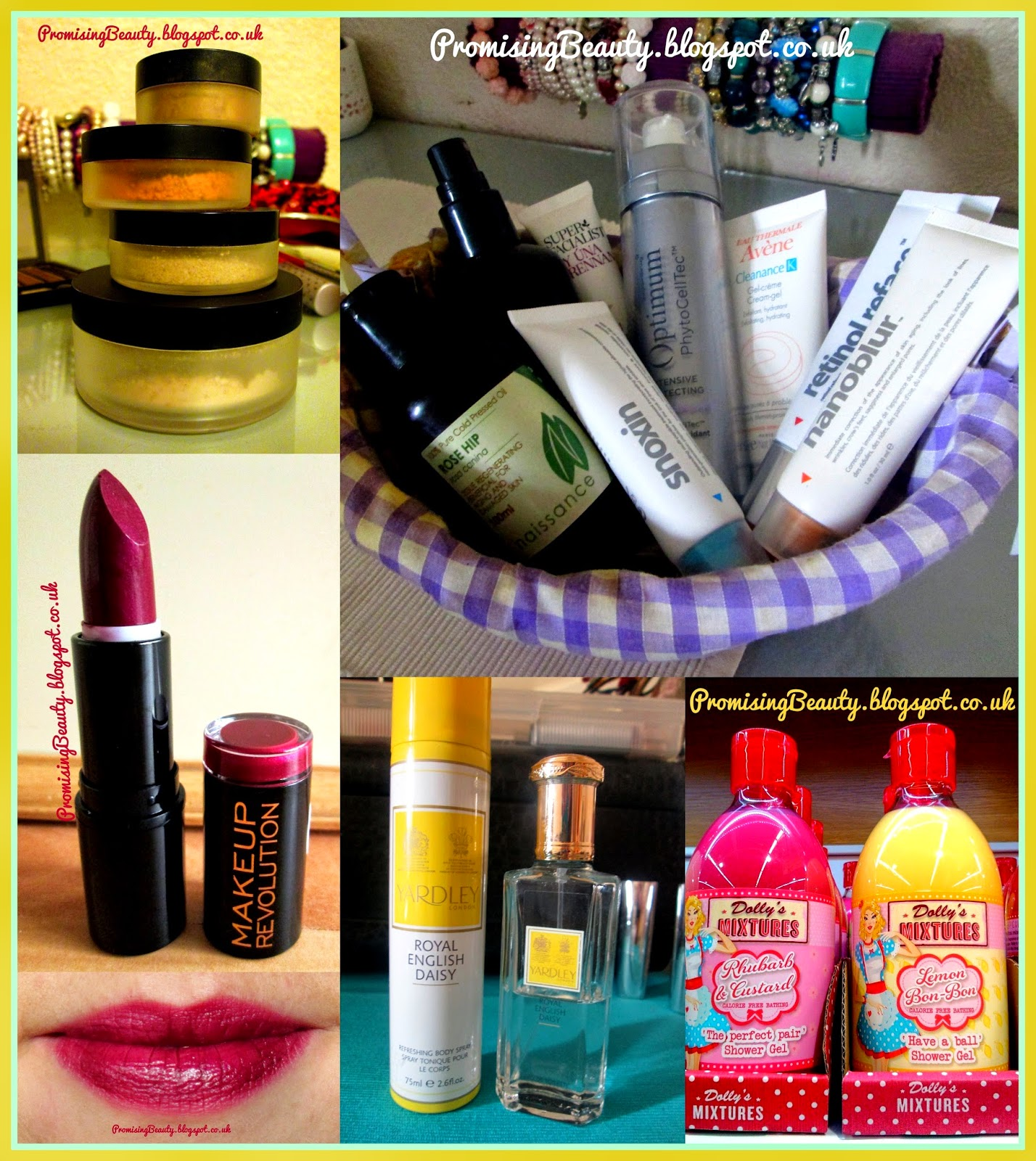 Montage of beauty products, indeed labs, Lily lolo mineral make-up, make-up revolution deep plum lipstick, rebel with a cause, Yardleys royal daisy prfume and body spray, dolly's mixtures bubble bath and shower gel