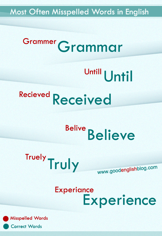 misspelld words in english, misspell words, english infographics, easy english, infographics