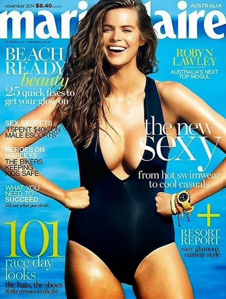 Robyn Lawley wears a plunging swimsuit for Marie Claire Australia November 2014