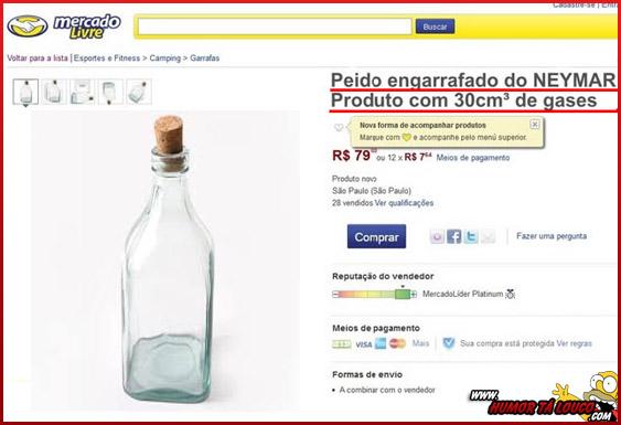 Perolas do Mercado Livre [02] - Peido engarrafado do Neymar, produto com 30cm³ de gases