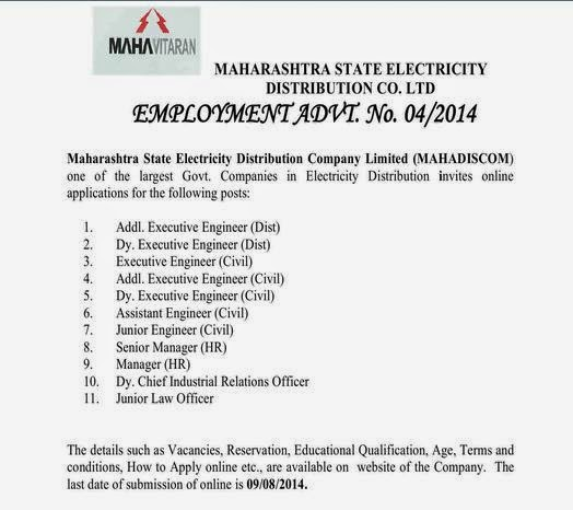 Mahavitarav Recruitment 2014 Details