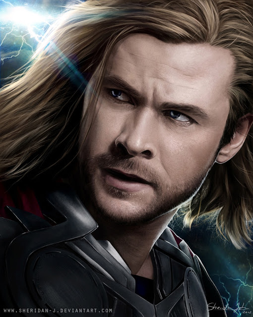 The Avengers Poster Challenge wallpaper Paintings of Sheridan Johns | Thor | Chris Hemsworth as Thor | Totally Cool Pix | big picture | totallycoolpix | The Avengers wallpaper | 3d movie painting | painting wallpaper | Sheridan Johns painting | realistic painting | water color painting | water colour painting