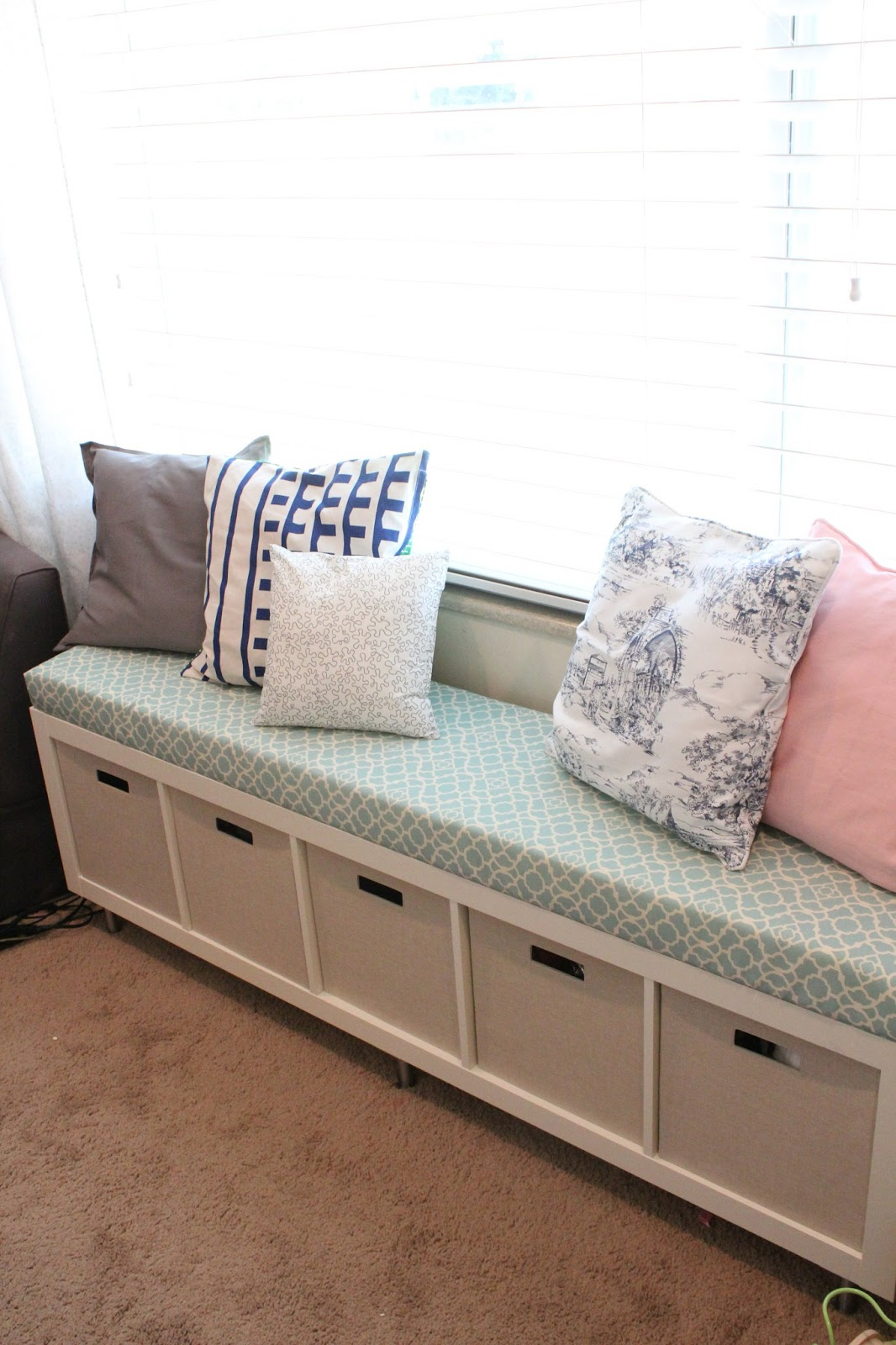 Mommy vignettes ikea no sew window bench tutorial Storage bench ikea