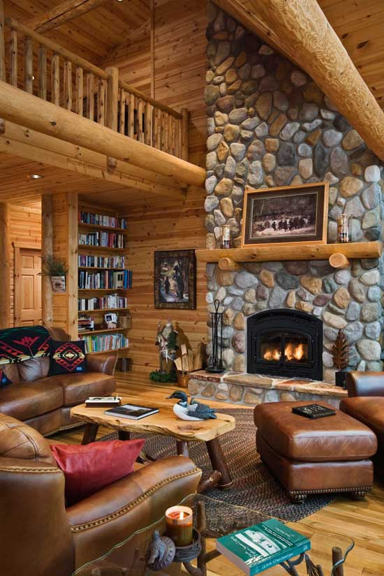Beyond the aisle home envy log cabin interiors for Cabin fireplace pictures