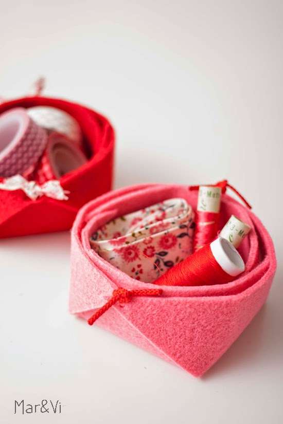 mini cestos de fieltro handmade