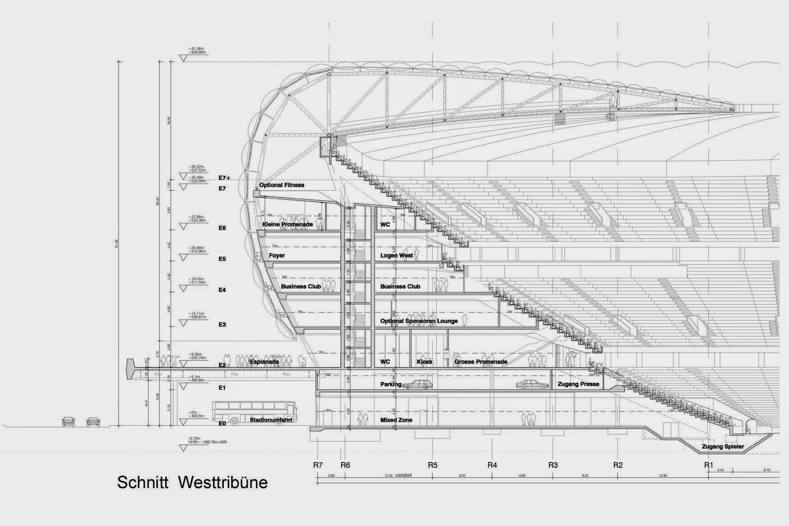 Allianz arena architectural drawings plans designs for Architecture plan drawing