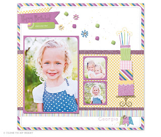 CTMH Scrapbook Layout Using Confetti Wishes Paper Pack