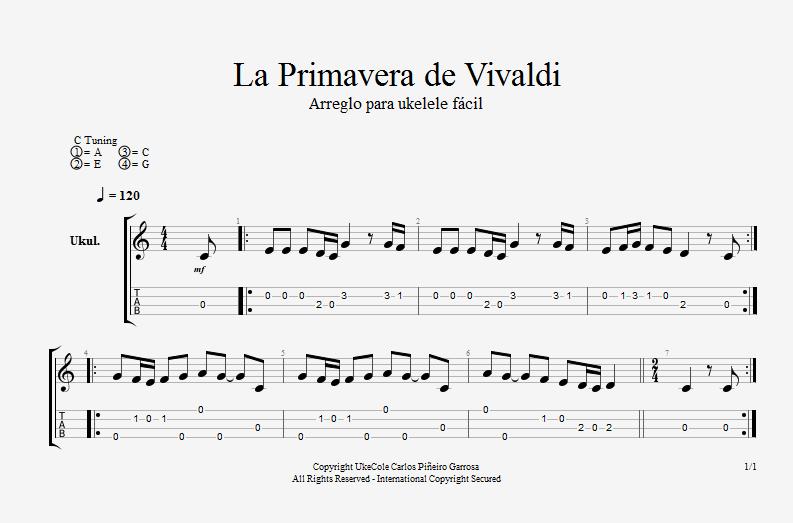 La primavera de Vivaldi para ukelele fácil.