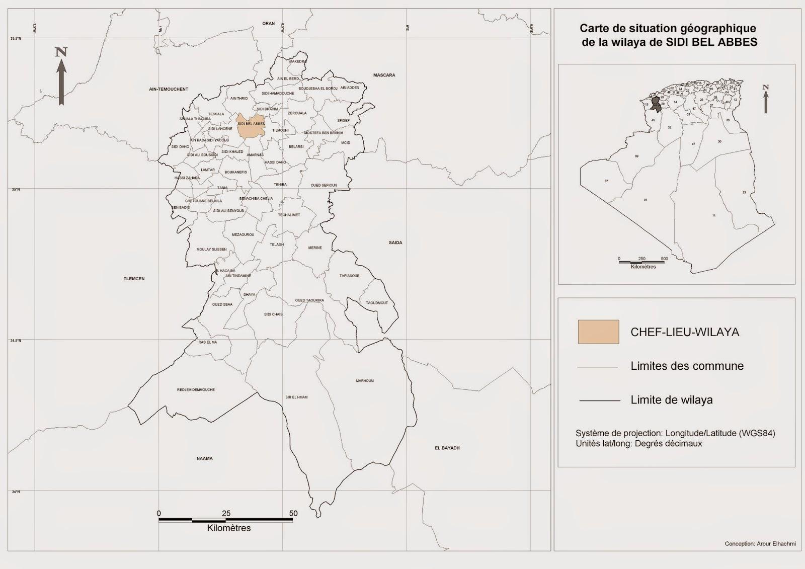 Découpage administratif de l'Algérie & Monographie: Carte de