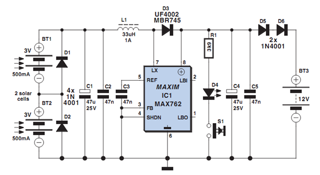 Solar Powered SLA Battery Maintenance Circuit Diagram