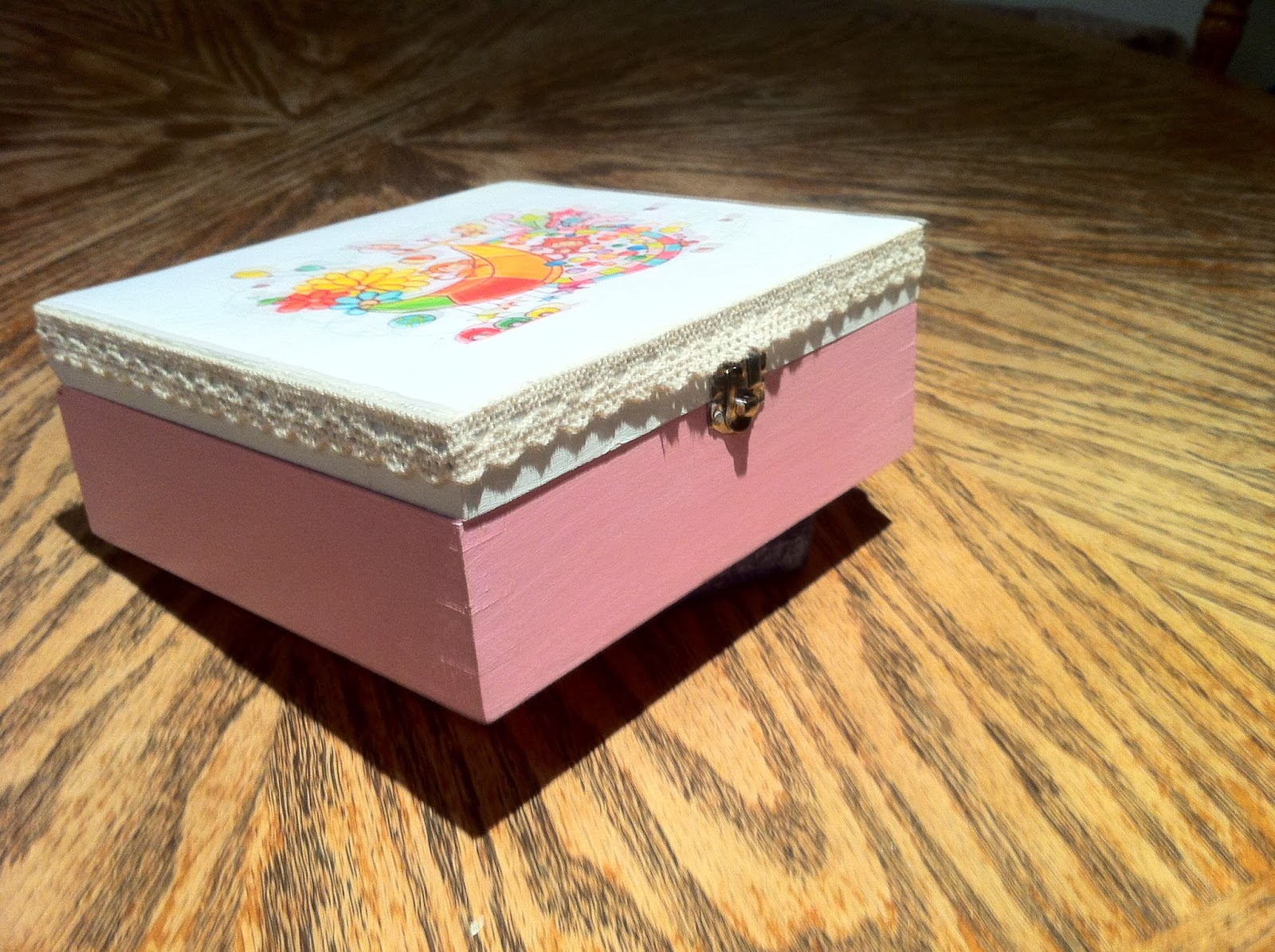 wooden box decoupage
