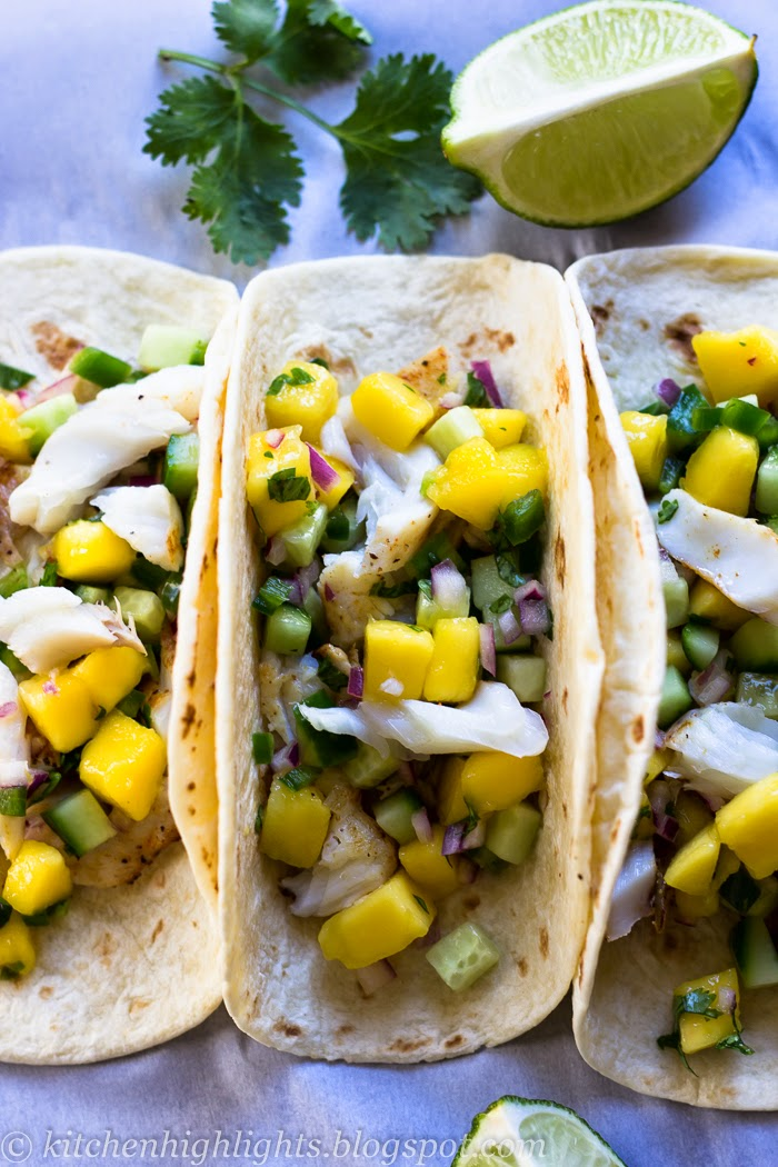 I am using a variety of flavors such as jalapeño peppers, red onions, cucumbers, cilantro, lime and mango to bring life to the delicious fresh tilapia tacos