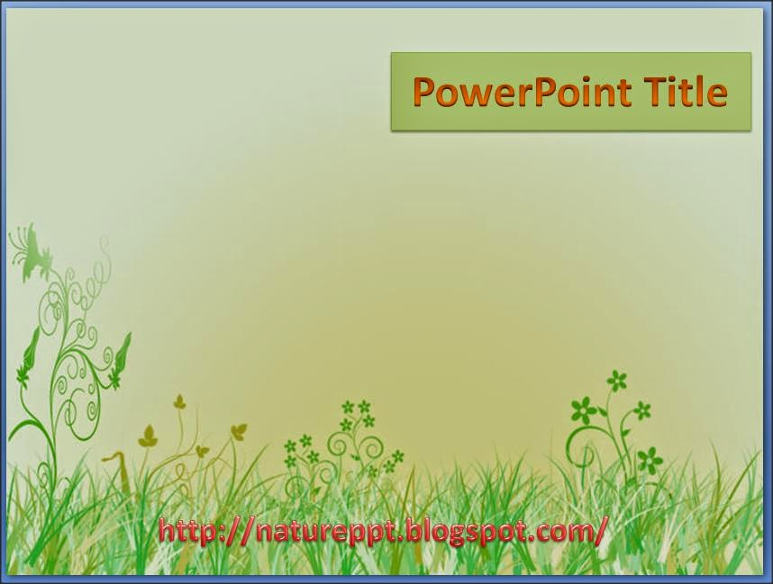 growing flowery green grass background for powerpoint template, Powerpoint templates