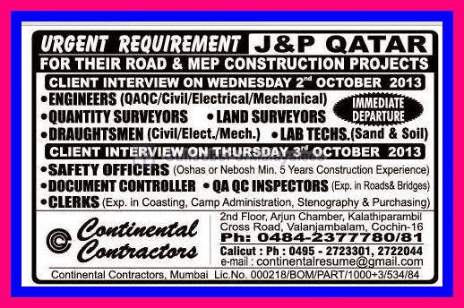 Immediate Departure Urgent Requirement For J P Qatar Africa
