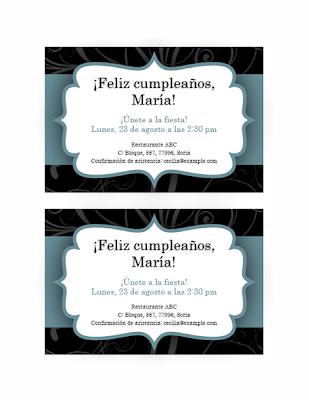 Tarjeta de invitación fiesta de cumpleaños