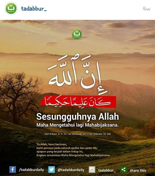 Ya Allah Kami Beriman Percaya Pada Seluruh Qadha Dan Qadar Mu Apapun Yang Terjadi Dalam Hidup Ini Engkau Senantiasa Maha Mengetahui Lagi