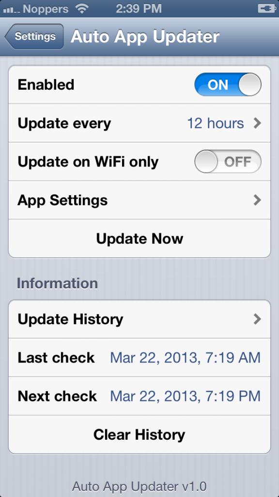 Download gratis Tweaks Auto App Updater 1.0 for Iphone