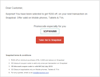 Discount Coupon for your next transaction on Snapdeal