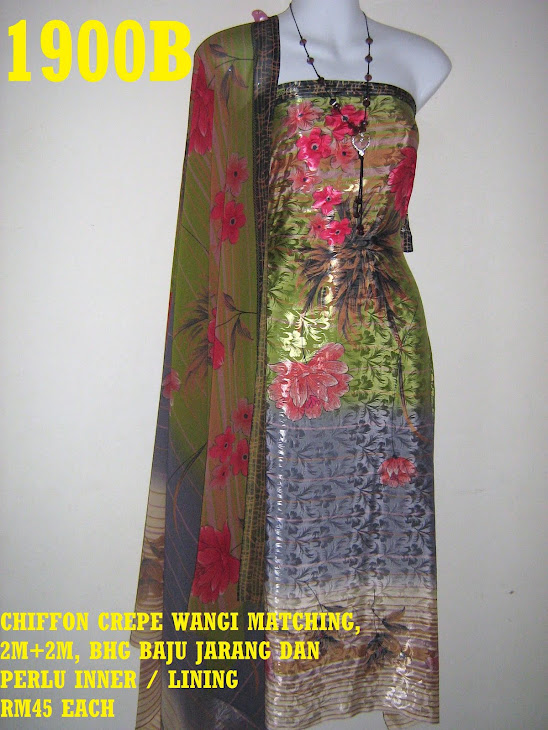 CCW 1900B: CHIFFON CREPE WANGI MATCHING, 2M+2M, BHG BAJU JARANG DAN PERLU INNER / LINING