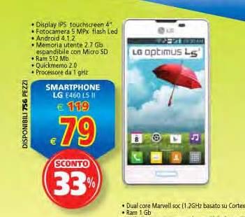 Prezzo sottocosto per lo smartphone Optimus L5 II nel volantino il Gigante