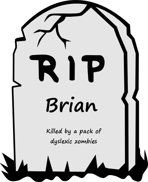Funny Zombie BrainTombstone Epitaph Cartoon